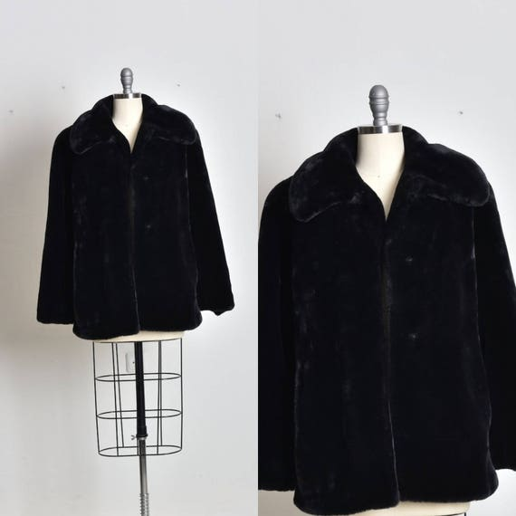 Faux fur coat, Womens fur coat, Warm coat, black f