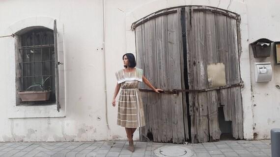 Beige dress, Striped dress, Casual gown, summer dr