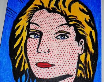 Dot Lady Lichtenstein Style Painting