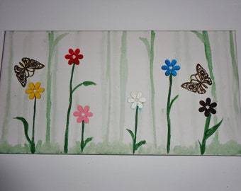 Butterflies and Flowers Painting Collage