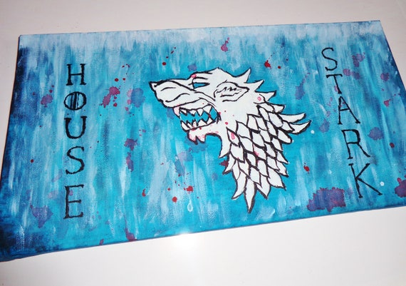 Wall Art Game Of Thrones Canvas Painting Of Stark Wolf