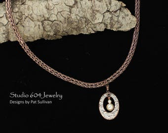 Hand woven Copper Necklace with Pendant - N803