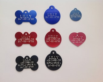 Custom Engraved Pet ID Tags for Dogs and Cats/Bone Shape, Round Shape and Heart Shape