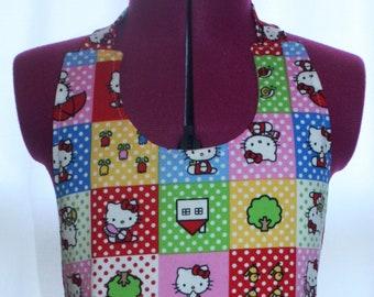 Girls Apron (M) ~Hello Kitty Print, Pocket on a Pocket,  Scalloped hem, Round neck, Neck Ties,  Lined