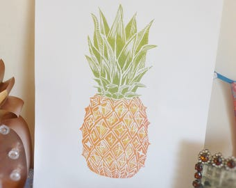 Tropical Pineapple - handmade lino print
