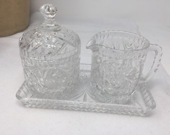 Crystal Covered Sugar Bowl and Creamer with Matching Tray, Sparkling and Gorgeous Vintage in Perfect Condition