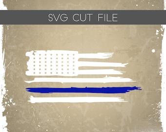 Blue Line Flag SVG - Distressed Flag SVG - Blue Line SVG - Blue Line Flag Cutting File - Blue Line Flag Silhouette Cutting File - Police svg