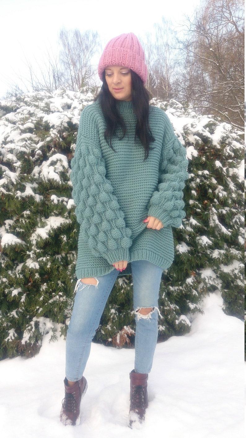 c30decf798 Chunky knit sweater dress for women Oversized hand knit long