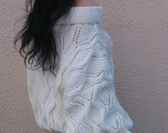 White Lace Pullover Hand Knit