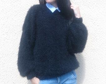 Knit Sweater Black, Angora Sweater, Women's Mohair Sweater, Hand Knitted Sweater, Fluffy Sweater, 80s Sweater Pullover, Black Sweater, Top