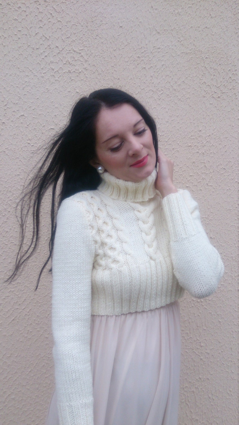 6f81c09321739f Long sleeve turtleneck cable knit crop top jumper for women