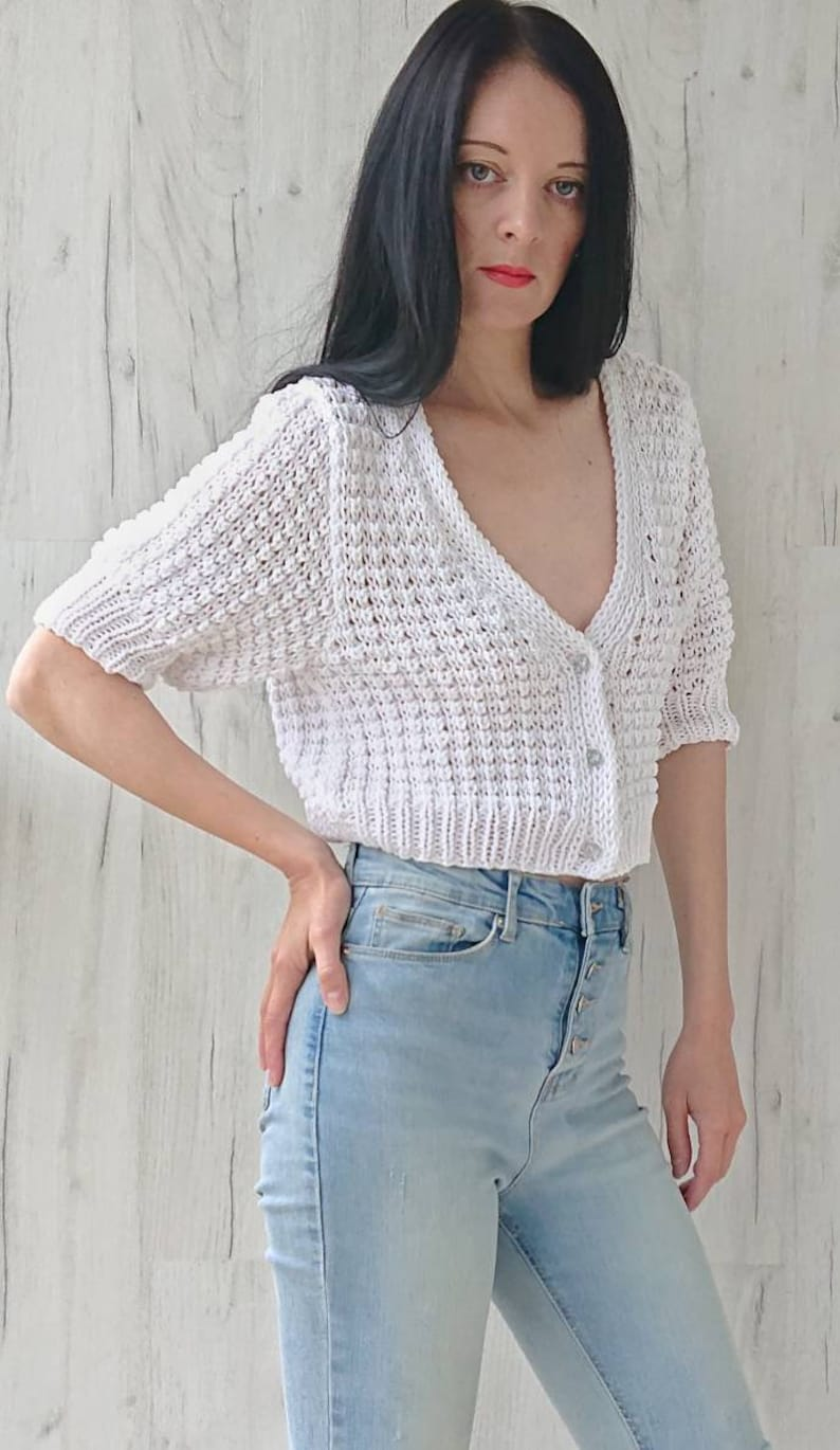 Cropped chunky cardigan for women Short puff sleeve hand knit jacket with buttons Cotton summer blouse in white Waffle V-neck sweater XS