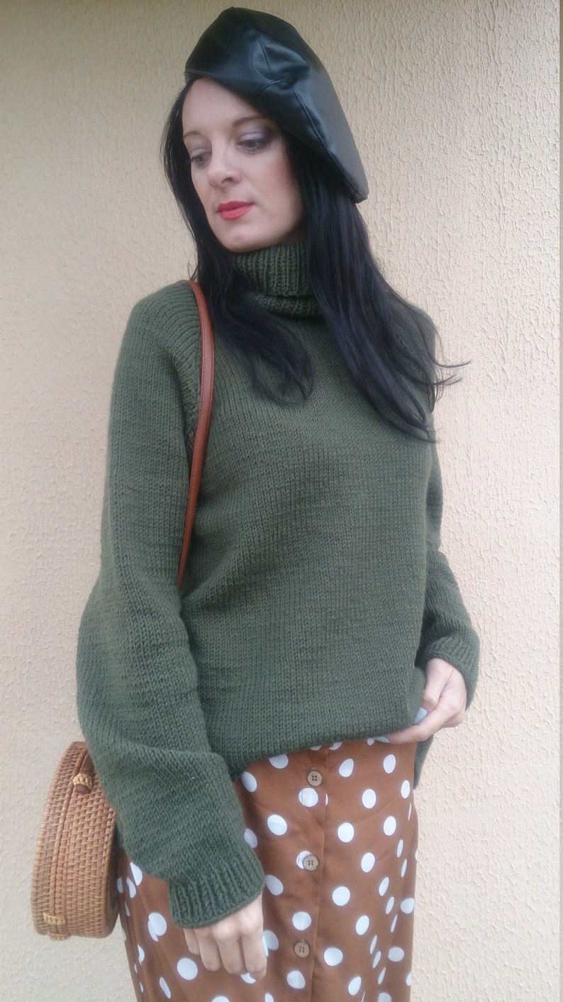 39ae903465c Wool turtleneck tunic sweater for women High neck hand knit | Etsy