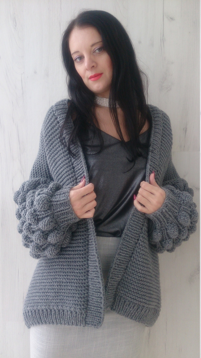 65e008622 Hand knit oversized kimono cardigan for women Chunky knit