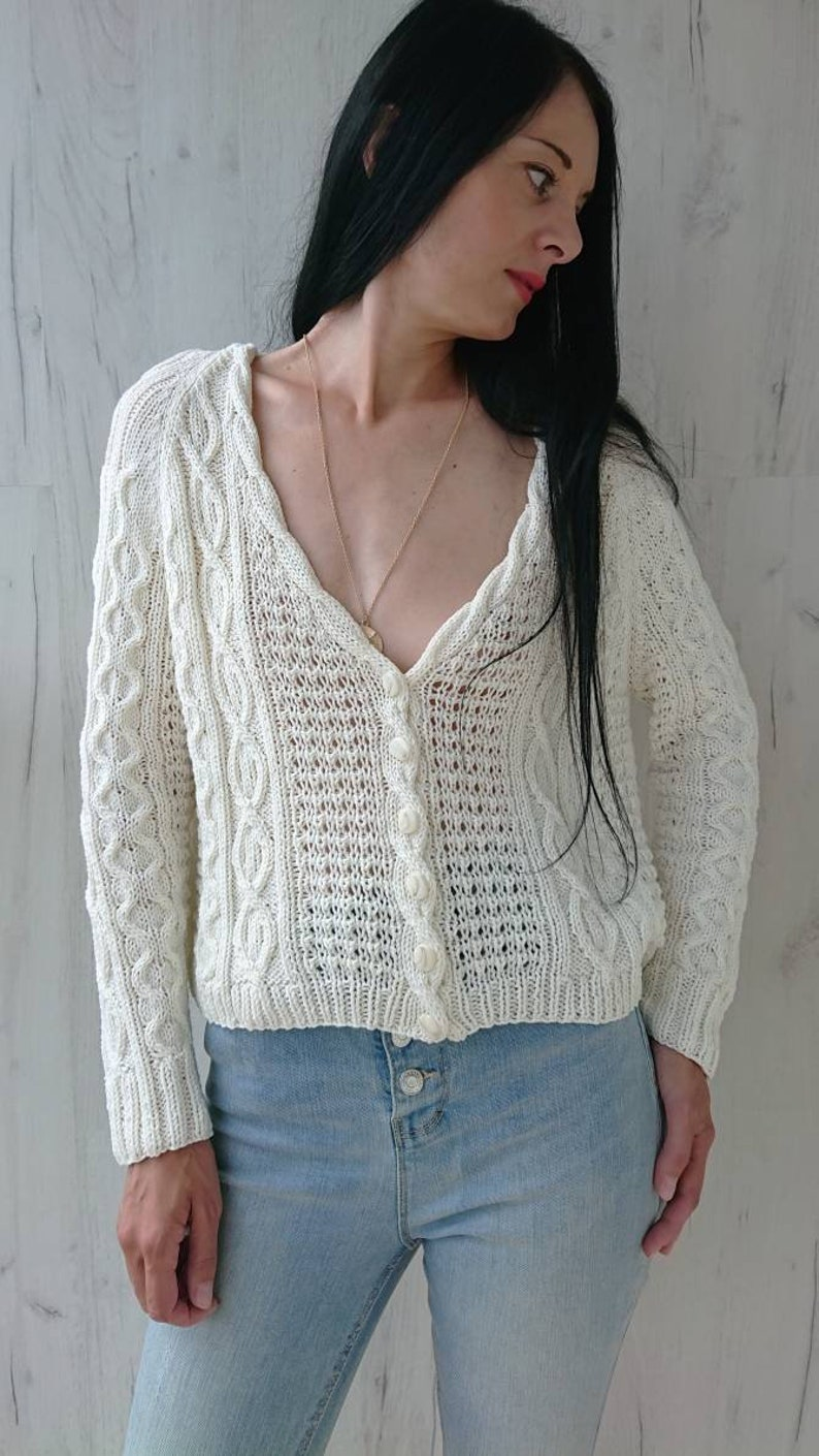Chunky cable knit cardigan for women Off white cotton cropped cardigan with buttons Aran V-neck hand knit jacket Summer handmade sweater XS