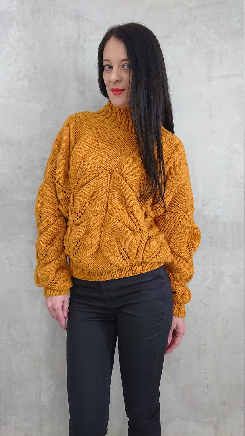 15d4c74b9dd Oversized chunky knit sweater pullover for women Leaf cable