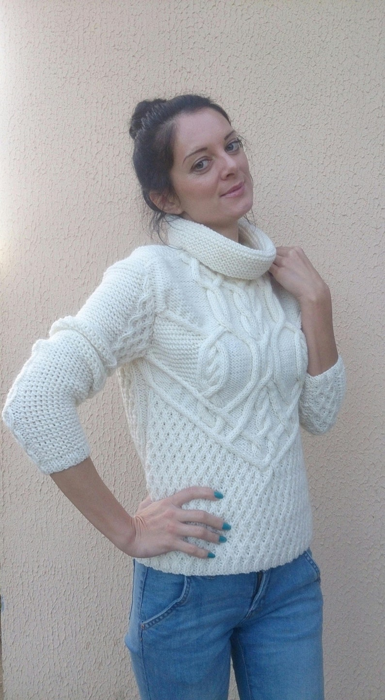 df8be8da3828ad Hand knit wool sweater for women Cable knit turtleneck