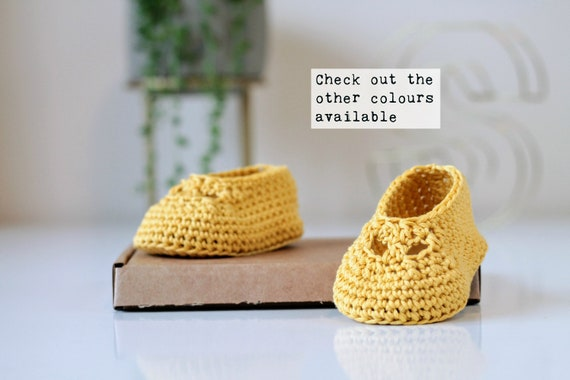 c46580db1833e Yellow Handmade Baby Ballerina Pumps / Newborn Baby / Cute Photo Prop /  Girl's Booties / Baby Shower Gift / Pink Baby Present / Infant Shoes