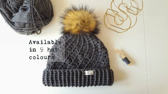 7ac76b4c57f Ladies Winter Handmade Faux Fur Pom Pom Woolly Hat   Crochet