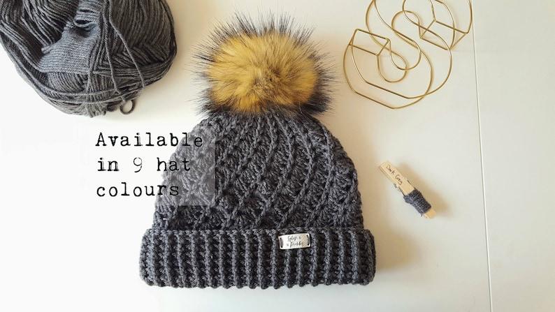 49330272383 Ladies Winter Handmade Faux Fur Pom Pom Woolly Hat   Crochet