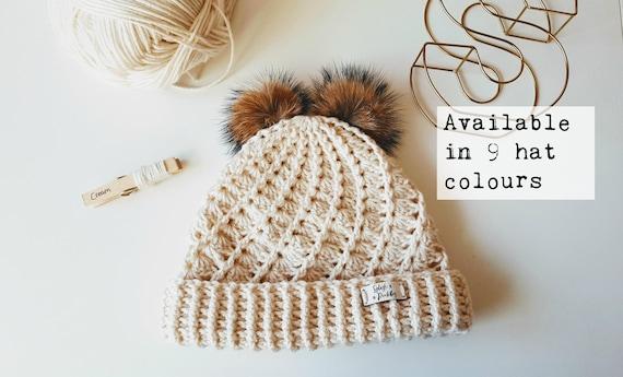 57d20fb294e Children s Double Faux Fur Pom Pom Woolly Hat Winter
