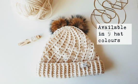 9e870966a2c Children s Double Faux Fur Pom Pom Woolly Hat Winter Handmade