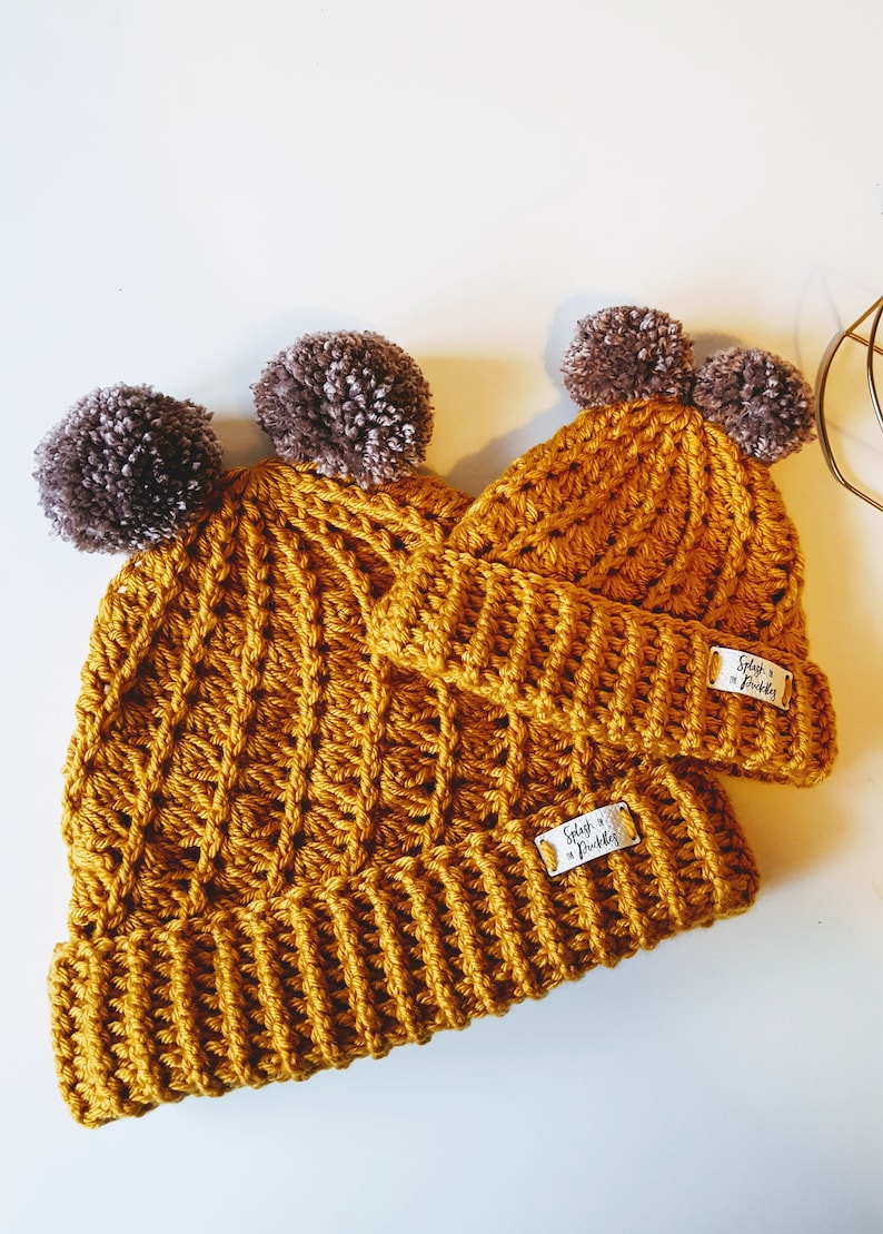 Child bobble Hat Gift Set Mummy /& Me Woolly hat set  Mommy and Me Hat Duo  Mini and Me Pair of Hats  Baby and Me Handmade Hat  Adult