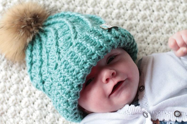 b5c44b94ed4 Children s Faux Fur Pom Pom Woolly Hat Winter Handmade