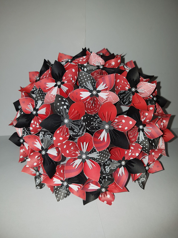 exemple bouquet de 23 fleurs origami en papier etsy. Black Bedroom Furniture Sets. Home Design Ideas