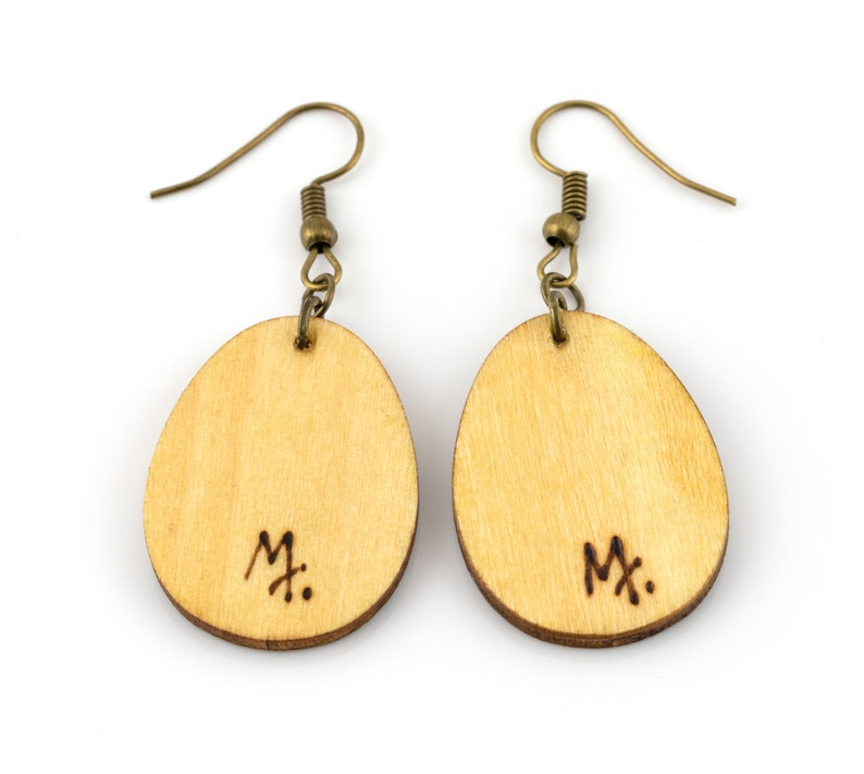 Cup of coffee light wooden earrings Coffee been art Handmade pyrography woodburning jewellery