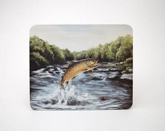 Leaping Brown Trout Mouse Mat