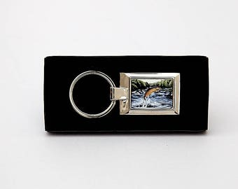 Leaping Brown Trout Keyring
