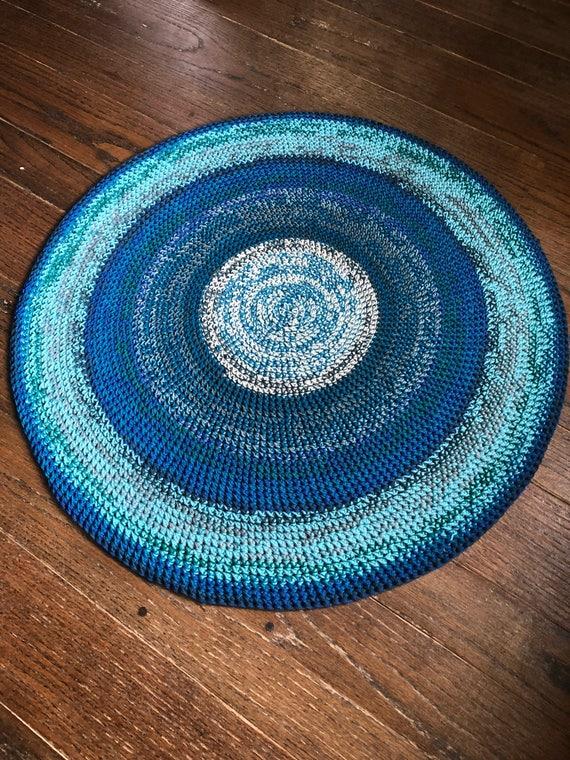Runder Teppich Häkeln Blau Teppich Runde Teppich Etsy