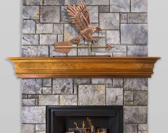 American Bald Eagle Pure Copper Weathervane Sculpture on Mantel Stand: Home Décor