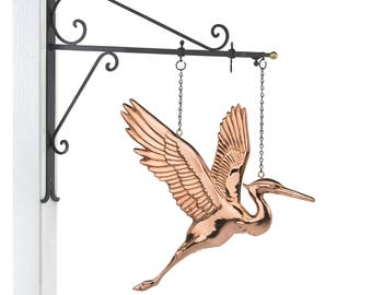 Hanging Blue Heron Pure Copper Weathervane Sign with Decorative Bracket: Home Décor