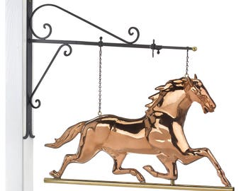 Hanging Horse Pure Copper Weathervane Sign with Decorative Bracket: Equestrian Home Décor