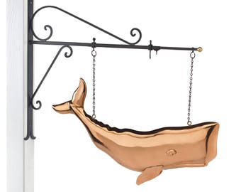 """Hanging 28"""" Whale Pure Copper Weathervane Sign with Decorative Bracket: Nautical Décor"""
