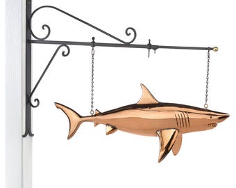 Hanging Shark Pure Copper Weathervane Sign with Decorative Bracket: Nautical Décor