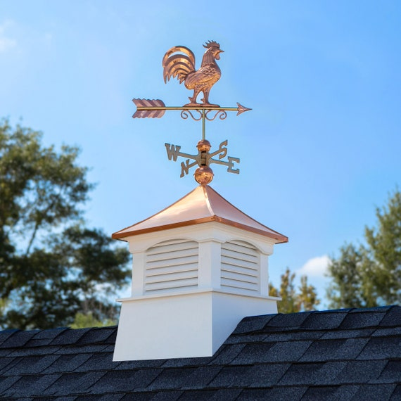 """18"""" Square Coventry Vinyl Cupola with Rooster Weathervane"""