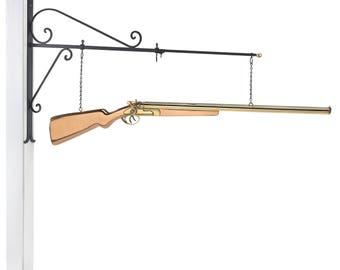 Hanging Shotgun Pure Copper Weathervane Sign with Decorative Bracket: Home Décor
