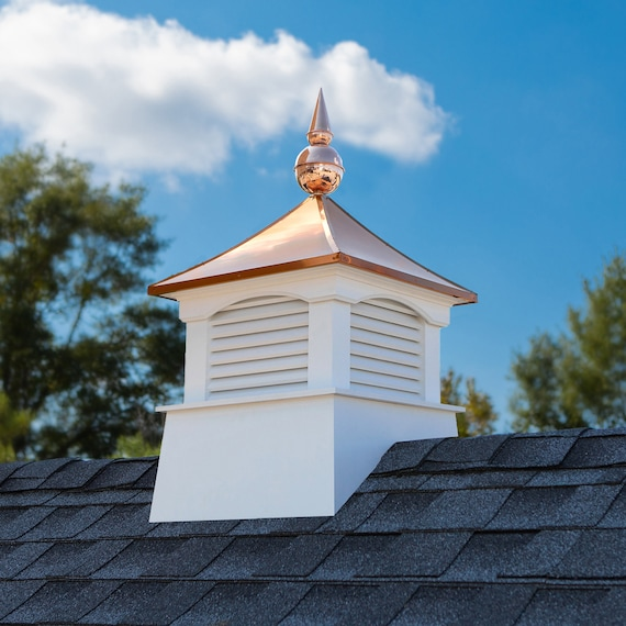 """18"""" Square Coventry Vinyl Cupola with Avalon Copper Finial"""
