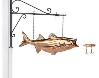 Hanging Bass with Lure Pure Copper Weathervane Sign with Decorative Bracket: Nautical Décor