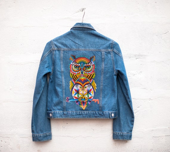 OWL WISE painted jeans jacket hand mN0O8vnw