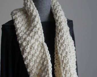 Thick wool scarf made with circular needles