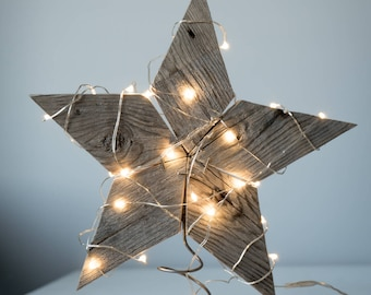 Rustic reclaimed wood star tree topper, centerpiece, window ornament