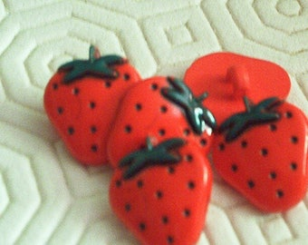 Set of 5 buttons fancy red Strawberry
