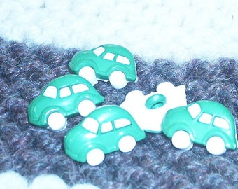 Set of 5 buttons fancy child car green and white