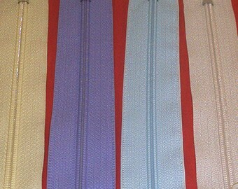 Set of 4 closures zipper 25 cm pastel assorted yellow, purple, blue and white off