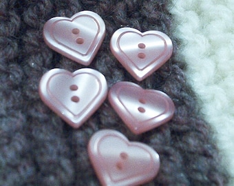 Light pink set of 5 hearts buttons