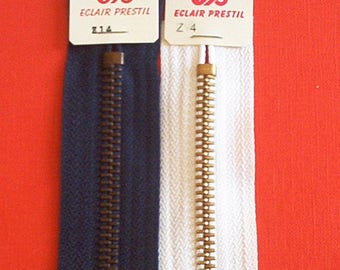 Set of 2 closures zipper 20 cm thick fabric pants and jeans and white